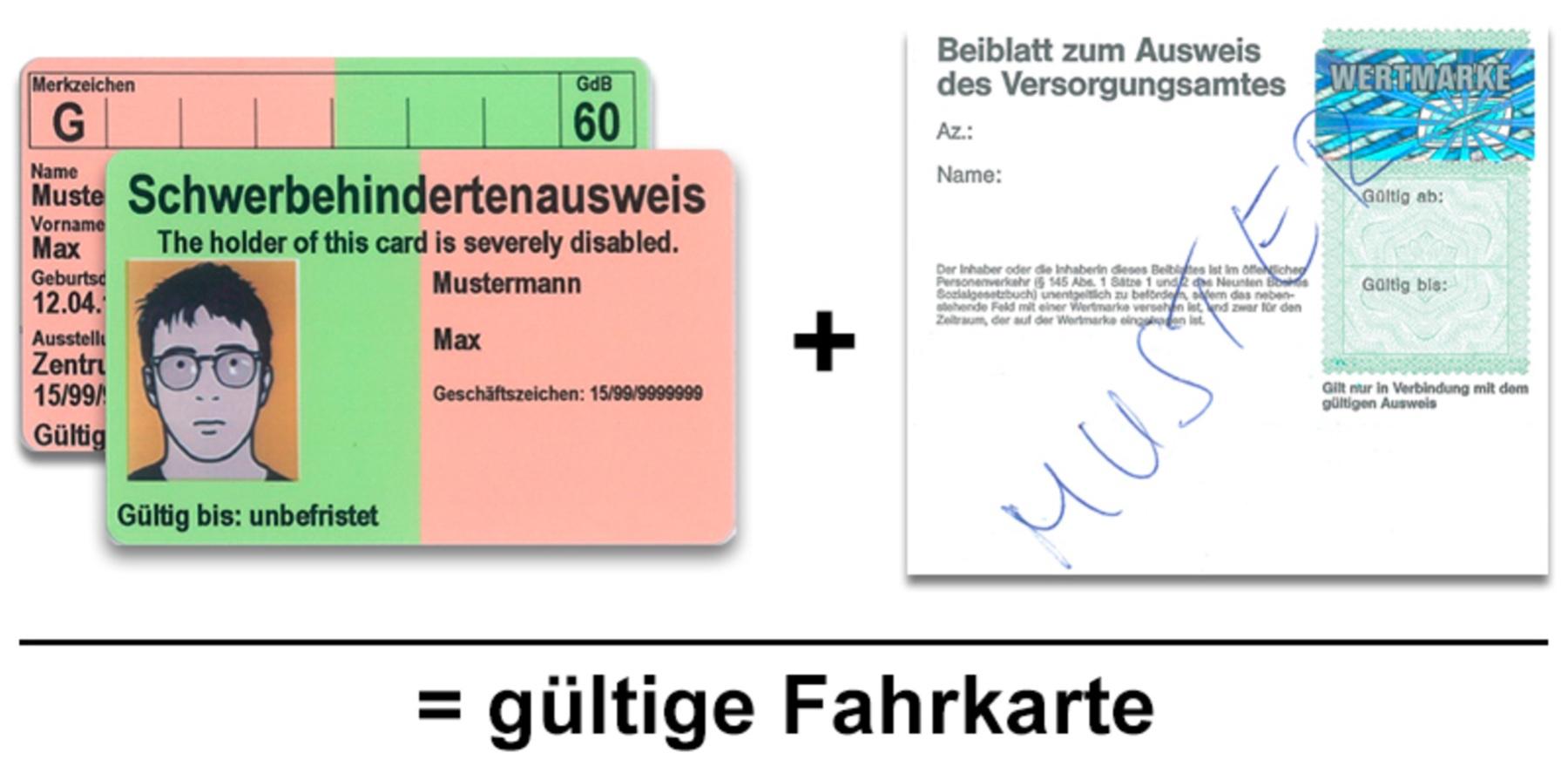 Schwerbehindertenausweis + Ausweisblatt mit Wertmarke = gültige Fahrkarte