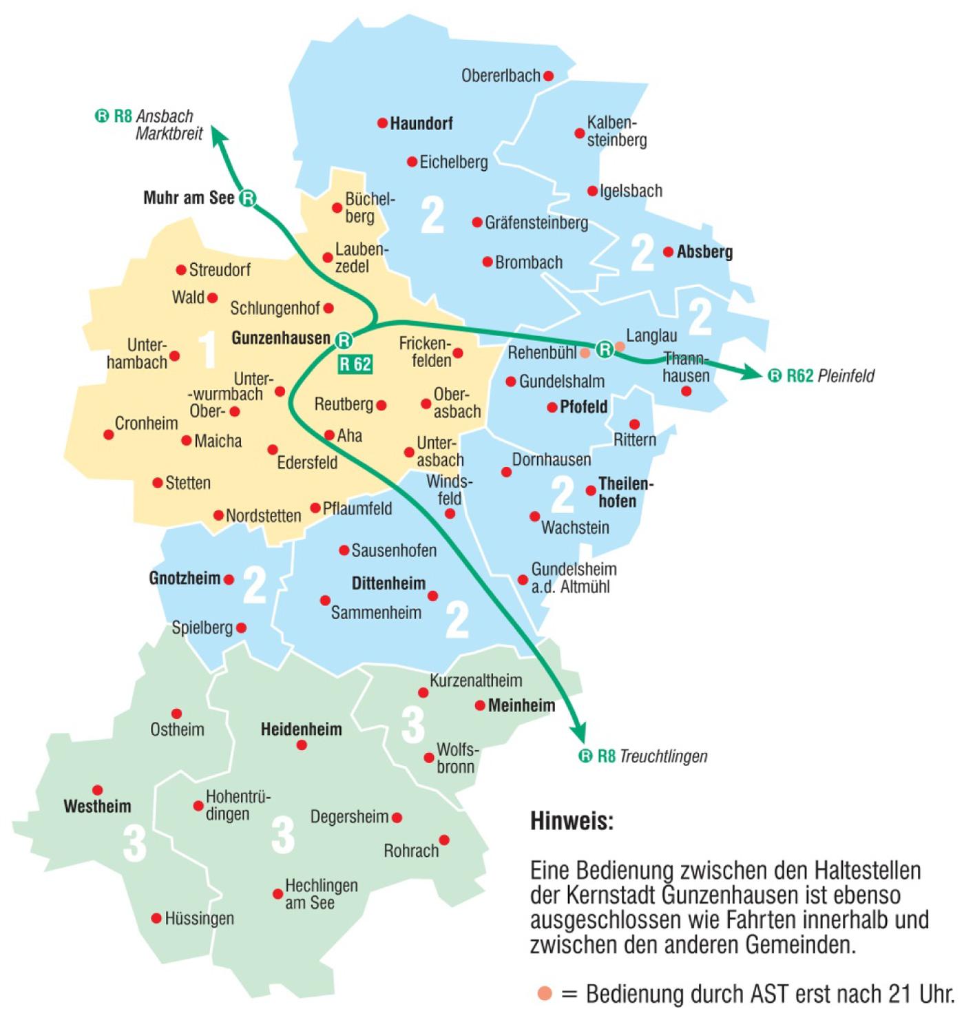 Karte AST Gunzenhausen