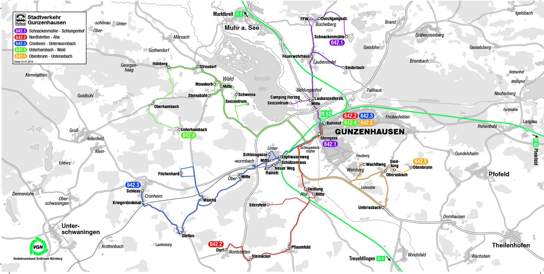 Liniennetzplan Gunzenhausen